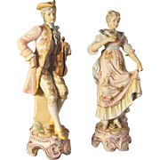 Victorian Style Couple Hand painted Porcelain Bisque marked crossed arrows signed Boizat