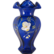 Fenton Golden Flax on Cobalt Blue Hexagon Vase Decorated Transparent - KG 1993