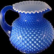 Rare Fenton Hobnail Cobalt Blue Overlay Water Pitcher