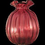 Fenton Large Round Paneled Cranberry Melon Diamond Optic Art Glass Vase