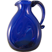 "Vintage Cobalt Blue 5"" Pinch Pitcher Art Glass with Attached Handle Signed JW Shelton"