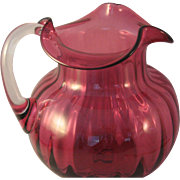 Rare Large Paneled Pilgrim Glass Cranberry Water Pitcher with attached Clear Handle - Marked