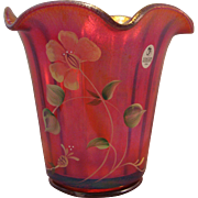 Fenton 2005 100th Anniversary Founder's Rudy Red Carnival Glass Vase with Hand painted flowers