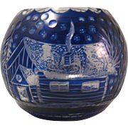 SOLD Bohemian Cobalt Blue Cut to Clear Winter Snow Scene Round Vase or Votive - Red Tag Sale I