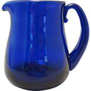 """SOLD Cobalt Blue 3 3/4"""" Creamer Pitcher Art Glass with Attached Handle Signed JW Shelton"""