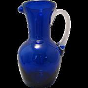 "SOLD Beautiful Blown 7"" Cobalt Blue thick glass Ewer Pitcher Hand blown with clear attach"