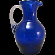 Vintage Fostoria Cobalt Blue Small Pitcher Ewer Hand blown w Clear Handle