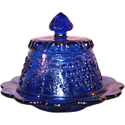 SOLD Vintage Mosser 2 piece Cobalt Blue Glass Covered Butter Fruit Dish with Grape Leaf Design