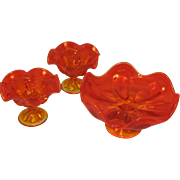 Viking Art Glass Petal Bowl with 2 Candle Holder Set Amberina Tangerine Yellow Mid Century ...