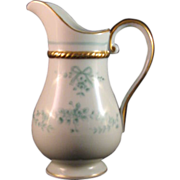 Rare Porcelain Small Green Floral Pitcher Creamer White Gold Trim - Marked