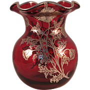 Vintage Ruby Red Ruffle Top Vase with Silver Floral Overlay