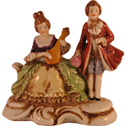 Occupied Japan Porcelain figural of Man and Woman Playing mandolin
