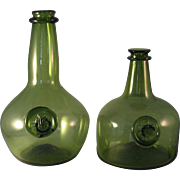2 Green Historical Reproduction Joseph Frances Wine Bottles with applied Medallions