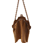 Vintage Gold Metal Steel Cut Evening Bag Purse 1900's - Nice Detail