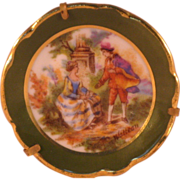 Victorian Style Whatteau Small Plate Brooch Pin Man Woman in Garden Made in Limoges France ...