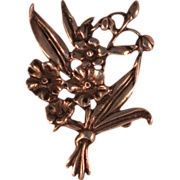 Vintage Sterling Silver Bouquet of Spring Flowers Pin Brooch 2 3/4""