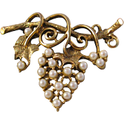 Vintage Grapes dropping from the Vine Brooch Pin - Gold Tone and Imitation Pearl Brooch