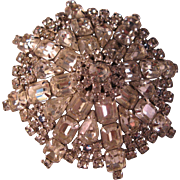 Vintage Clear Sparkling Star Burst Rhinestone Large Brooch Pin w Sapphire Accents