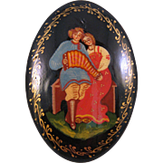 Russian Black Lacquer Brooch Pin  - Folk Couple with Accordion - Handpainted & Signed