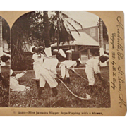 "Jamaican Boys Stereoscope Card 1900 - ""Five Jamaica Black Boys Playing with Mower #10210"""