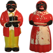 SOLD Vintage hard plastic Aunt Jemima Uncle Mose salt and pepper shakers 1940-50's