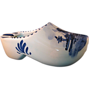 Vintage Blue Delft Handpainted marked Ashtray Clog 5""