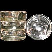 4 Rare Round Crystal Gliders Patented Jan 15, 1924 w Rectangle Center Uranium Glass - Furnitur