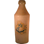 "Rare 10"" Dutch Stoneware Salt Glazed Beer Bottle with Dutch Girl"