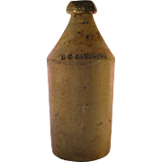 GC Danforth Stoneware Salt Glaze Grey Lettering Beer Root Bottle from late 1800's