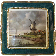Sandland Ware Dutch Pictoral Trinket Dish Teal with Gold Trim markings include in Gold John ..