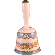 Staffordshire Fine Bone China Crown Bell  - Blue and Pink Flowers with Gold Accents