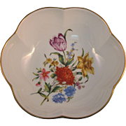 Royal Worcester Mixed Flower Candy Bowl with Gold Trim - Fine Porcelain