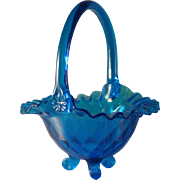Vintage Fenton Colonial Blue Aqua Ruffle Top footed Basket -  Marked