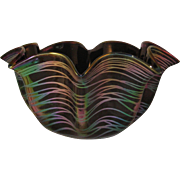 Mardi Gras Bowl Pinched Rim Black Iridescent Studio Art Glass