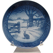 ROYAL COPENHAGEN Blue Wall hanging Plate made in Denmark 1971 Hare in Winter - signed