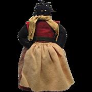 "Vintage Black Americana Folk Art Stuffed Doll 12"""