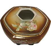 Vintage Porcelain Painted Roses Brown Hexagon Hair Receiver marked MZ Austria (Moritz Zdekauer