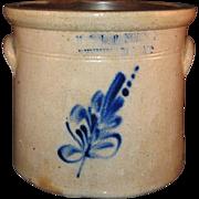 Blue Floral Spray E & LP Norton, Bennington, Vermont Stoneware 1 Gallon Crock