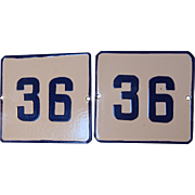 Set of 2 Vintage European Enamel Porcelain Heavy Tin Address Gate Sign Plate # 36 - Cobalt ...