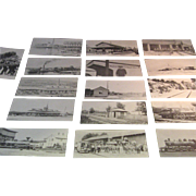 16 Different Wolfboro, NH Rail Road - Historical Series Post cards: Printed in the 1960's ...