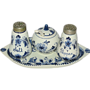Vintage Delft Blue Elesva Condiment Complete Set Hand painted and signed in Holland