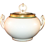 Limoges W.G.& Co. William Guerin France Porcelain Sugar Bowl Gold Ring Green