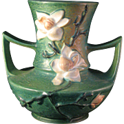 Roseville Pottery Vase Blue Green Magnolia 93-9 - Large 2 handles