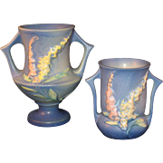 2 Roseville Pottery Foxglove Vase Blue with Yellow and Pink # 42-4 and 161-6