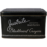 Vintage Black Tin Justrite Dustless Blackboard Chalk Crayons - Made in USA 1950's-60's