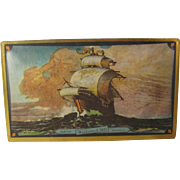Vintage Canco Candy Tin Sail Tall Ship Ocean Sun Motif Lovell & Covel - Westword Ho - ...