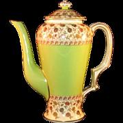 Rare Royal Worcester Porcelain Teapot Gold Trim, Green, Floral Tea Pot marked ca.1892 - MINT .