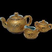 Rare Mid 20th Century Design 24 KT Gold Splatter & Light Blue Teapot , Sugar Bowl and ...