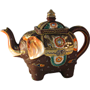 Vintage Satsuma Moriage Hand painted Elephant Teapot made in Japan - Multi color