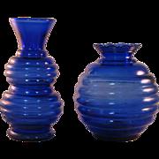 2 Vintage Cobalt Blue Ribbed Vases Marked USA 1 & 3